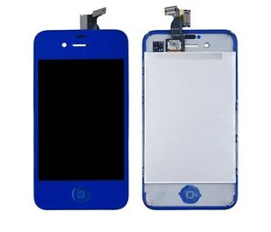 New Apple iPhone 4 4G Screen Digitizer LCD Assembly DEEP BLUE - with Home Button