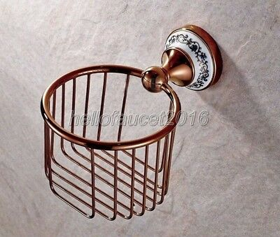 Rose Gold Brass Toilet Tissue Paper Holder Bathroom Paper Roll Holder lj021-7