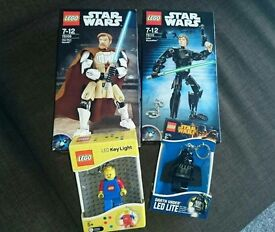Lego starwars figures and lego torch keyrings