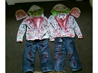 2 homemade zombie costumes age 5 - 7 years