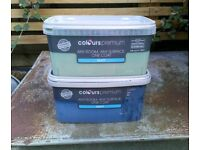 Two tins of paint - sage green and dark blue