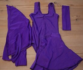 Girl's purple dance or gymnastics leotard, skirt, wrap cardigan top & headband