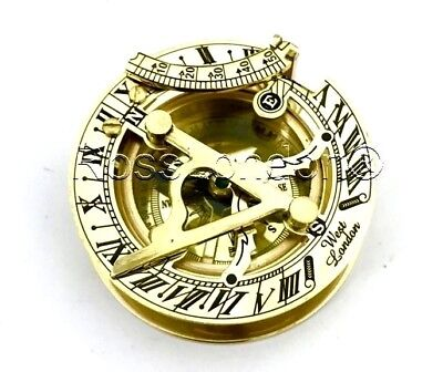 Brass Sundial Compass -Solid Brass Pocket Sundial - West London - w Leather BOX