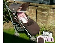 Maclaren techno xlr pushchair with footmuff, rain cover, newborn insert