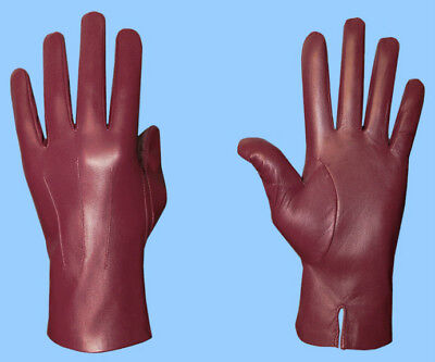 NEW MENS size 8.5 or M UNLINED GENUINE BURGUNDY LAMBSKIN LEATHER DRESS GLOVES