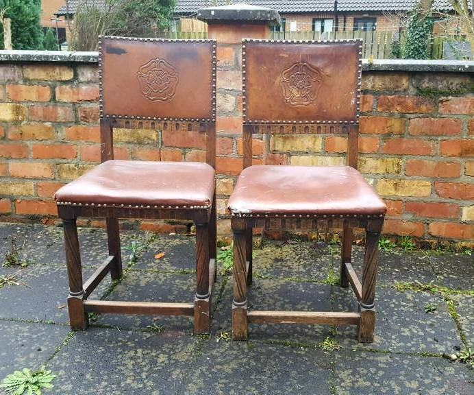 Pair Of 2 Gothic Chairs Embossed Tudor Rose Leather Back