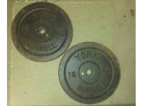 2x15kg York cast iron weights