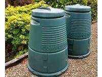Compost bins, plastic with lids