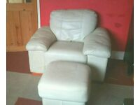 2 Cream Leather chairs and foot stool