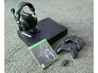 Xbox one 1tb, 2 controllers and unofficial charger pack, turtle beach xp510 wireless headset
