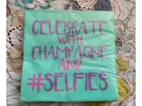 Job Lot 260 Green Purple Pink Celebrate Champagne Selfies Paper Napkins