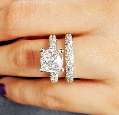 14K WG 3.00 Ct Cushion Cut Diamond Micro Pave Engagement Ring w/ Band F,VS2 GIA