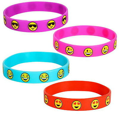 36 EMOJI BRACELETS RUBBER SILICONE EMOTICON CARNIVAL GOODY BAGS PRIZES PARTY