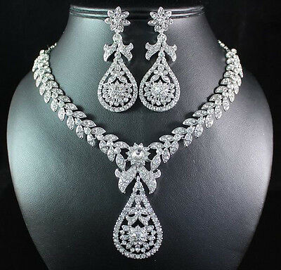 DANGLE CLEAR AUSTRIAN RHINESTONE CRYSTAL NECKLACE EARRINGS SET BRIDAL WED N1662C