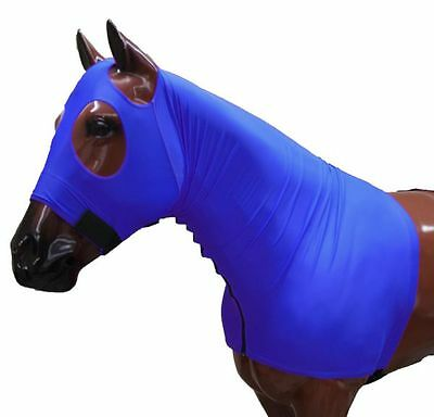 Horse Hood Slinky Lycra Zippered Mane Braid Shoulder Guard Navy Small
