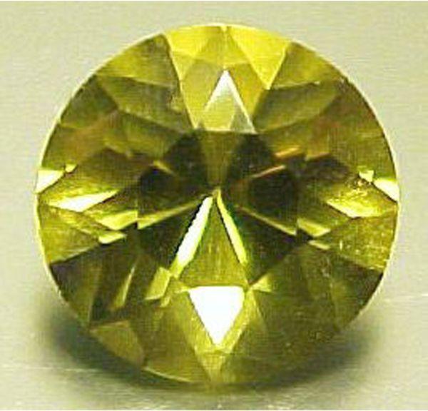 7 mm BRILLIANT ROUND NATURAL OLIVE GREEN QUARTZ #R526