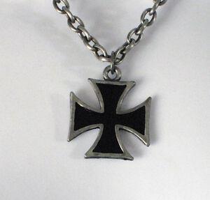 iron cross necklace pendant chain black metal rock