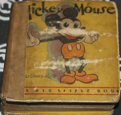 Half Price Now   Rare 1St Ed Mickey Mouse Big Little Book Steamboat Willie Look