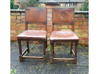 Pair of 2 two Gothic chairs leather back oak legs vintage Victorian Edwardian dining tudor rose