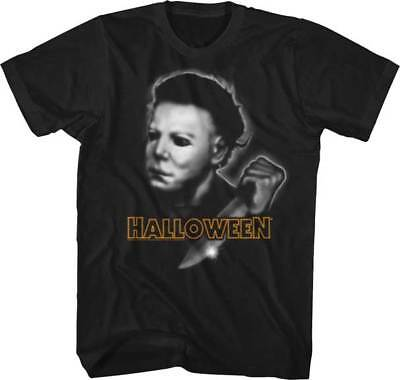 Halloween Airbrush Michael Myers mit Messer Erwachsene T-Shirt Great Scary Film ()
