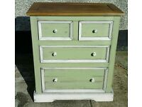 Shabby / rustic chic chest of solid pine drawers / dresser
