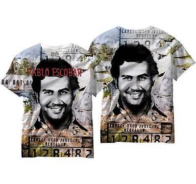 Narcos Drug Lord Pablo Escobar Mug Shot Adult Mens T Shirt
