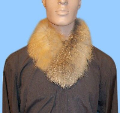 New MENS GENUINE NATURAL RED FOX FUR NECK WRAP - SCARF