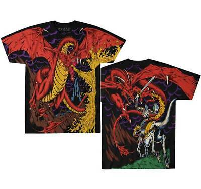 Fire Breathing Flying Dragon Knight Fantasy Fairy Tale White Horse T Shirt 31788