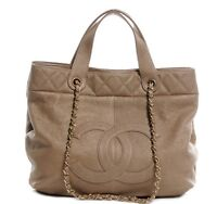 Authentic CHANEL Calfskin Trianon Large Tote Gold