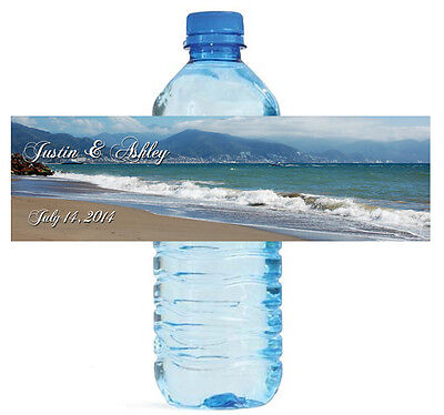 100 Beach Theme Wedding Water Bottle Labels Engagement Party Briday - Beach Theme Wedding