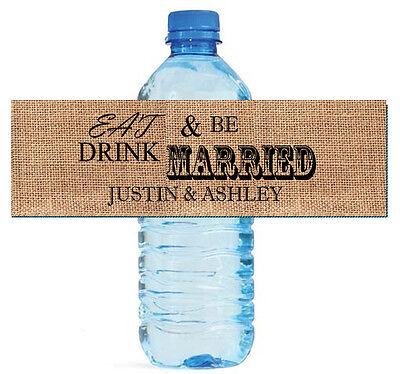 100 Burlap Eat Drink & Be Married Wedding Water Bottle Labels Engagement Bridal - Drink Labels