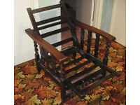 Pair of Vintage Antique reclining Oak chairs. Arts & crafts armchairs.