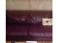 Dfs plum red burgundy leather 2 seater sofa