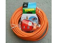 NEW! 25 METRES 2 CORE ORANGE MAINS CABLE AND PLUG AND SOCKET