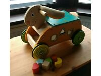 Big Jigs wooden ride-rabbit and shape sorter toy VGC