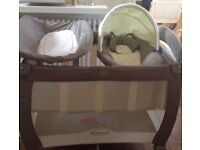 Graco Contour Electra Bassinet with Napper and changer in I Love My Bear travel cot