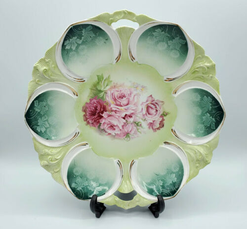 Antique RS Prussia Oyster or Cake Plate Elaborate Victorian Roses Mold 63