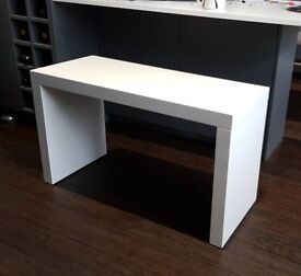 Two dining benches. High gloss white