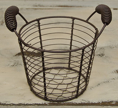 New Primitive Country Farmhouse Chic Chicken RUSTY WIRE EGG BASKET Shabby Rustic