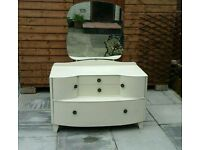 Shabby chic 3pc bedroom furniture set dressing table / lockable tall boy wardrobe / chest of drawers