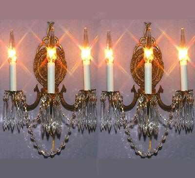2 Vintage 3light Gilt Bronze Brass Crystal Wall lamps BOW Sconces Crystal prisms
