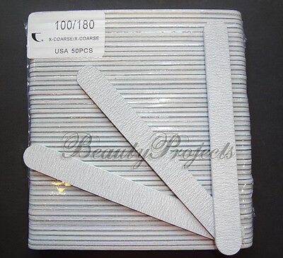 "(50pcs) Professional Acrylic Nail File 100/180 Grit Zebra Sanding Files 7"" NEW"