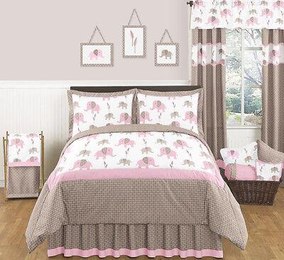 Discount Girls Bedding - Jojo Modern Discount Pink Brown Elephant Girl Kids Full Queen Sized Bedding Set
