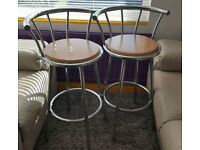 Pair of bar stools with wood base and steel frame