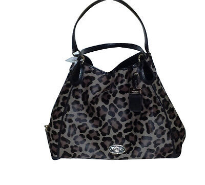 HUGE SALE 50% OFF! LG COACH EDIE OCELOT PRINT CALF-HAIR SHOULDER BAG F33605 NWT!