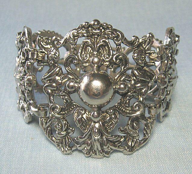 """Silvertone Renaissance Revival Bracelet  2"""" at widest"""