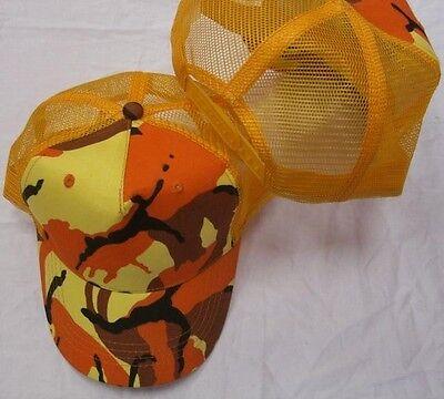 ORANGE CAMOUFLAGE TRUCKER MESH HAT snapback camo cap ball summer baseball A20ora Orange Camouflage Cap