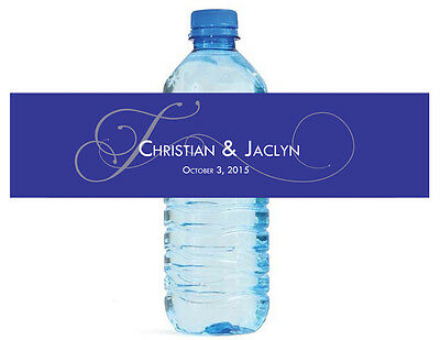 100 Navy Blue Monogram Wedding Water Bottle Labels Anniversary Bridal Shower ()
