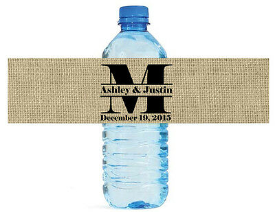 100 Burlap Monogram Wedding Water Bottle Labels Anniversary Bridal Shower Party ()
