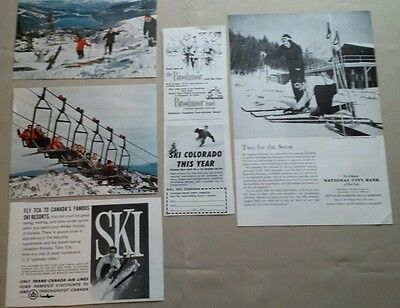 LOT OF 5 SNOW SKIING PRINT ADS MAGAZINE ADVERTISING VINTAGE